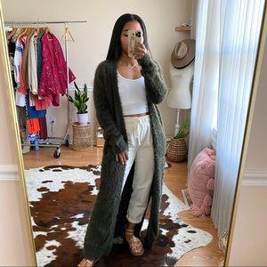 Ruby Moon Olive Green Eyelash Knit Maxi Cardi XS